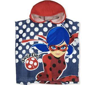 Miraculous LadyBug Girls Poncho Towel 100% Cotton 1-6 Years - Red -