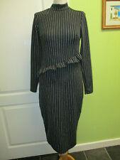 BNWT £38 RIVER ISLAND SIZE 12 WOMENS BLACK & WHITE STRIPED STRETCHY PENCIL DRESS