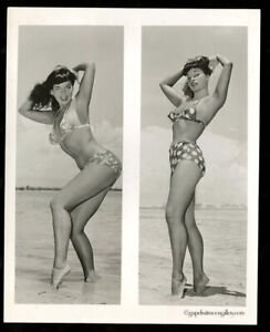 "Bunny Yeager 8""x10"" Vintage Gelatin Silver Photograph 2 Frames Of Bettie Page NR"