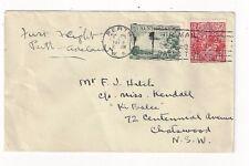 1929 Perth WA Western Australia KGV #26, Airmail #C1 First Flight FF Adelaide