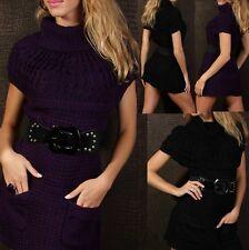 SeXy Damen Grob Strick Long Pulli Mini Kleid Rolli Kurzarm Pullover 34/36/38