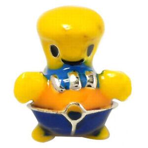 De Buman Sterling Silver Enamel Yellow Duck Charm Bead for Kids