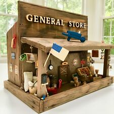 66+ Item~Vintage~HandCrafted General Store Wooden Doll House Train Set Miniature