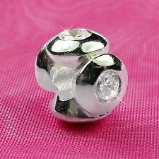 Genuine 925 Solid Argento Sterling Pietra quattro Fascino Perlina europea Bracciale Fit