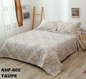 CRYSTAL VINTAGE FLOWERS TAUPE BEDSPREAD QUILTED SET 3 PCS QUEEN SIZE