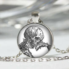 Skeleton photo Tibet silver dome Glass Cabochon Necklace chain Pendant #465