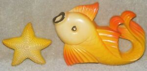 Vintage 1977 Miller Studios Chalkware Orange Goldfish & Starfish Wall Decoration