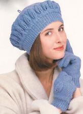 Leaf Pattern Lady's Beret & Gloves One Size DK  -    Knitting Pattern