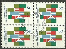 CEPT-Mitläufer 1967/ Liechtenstein MiNr 481 o Viererblock mit Ersttagstempel