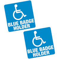 "2 x Blue Badge Holder 4"" 100mm Sq Vinyl Sticker Disabled Car Van Home Motability"