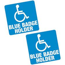 """2 x blue badge holder 4"""" 100mm sq vinyle autocollant handicapé voiture van home motability"""