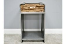 Industrial Metal and Distressed Wood Drawer Unit / Bedside Table