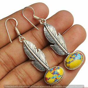 Yellow Mosaic Jasper Earring 925 Sterling Silver Plated Earring Jewelry E-2834
