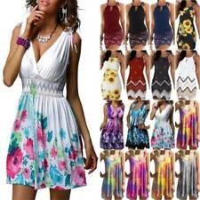 Women Floral Sleeveless Mini Dress Ladies Summer Casual Holiday Sun Dresses New