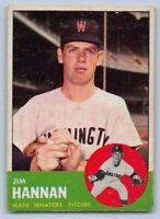 "1963  JIM HANNAN - Topps ""ROOKIE"" Baseball Card # 121 - WASHINGTON SENATORS"