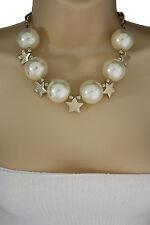 Women Short Cream Necklace Gold Metal Star Big Ball Bead Fashion Jewelry Earring