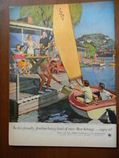 1953 Vintage Original Magazine Ad Beer & Ale Picnic on the Bay Boat Water FALTER