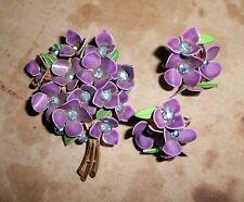 VTG* VIOLET FLOWER NOSEGAY BROOCH PIN; Dark Purple Enamel w Clip-on Earrings