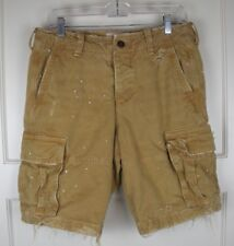 ABERCROMBIE & FITCH Tan Destroyed Rugged Cargo Shorts Men's Size: 31