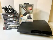 Playstation 3 Lot: PS3 Slim, Power Cords, 11 Games CIB, Charging System - Tested