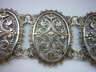 ORNATE VICTORIAN SILVER PIERCED PANEL  BRACELET  8.5 INCHES