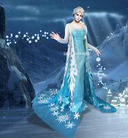 J710 Movies Frozen Snow Queen ELSA Cosplay Costume Dress tailor HANDMADE CUSTOM