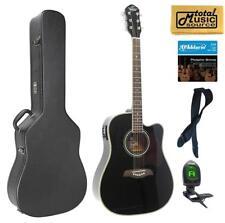 Oscar Schmidt Acoustic/Electric Guitar, Black, Hard Case Bundle OG2CEB CASEPACK