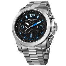 New Men's Akribos XXIV AK631BU Chronograph Stainless Steel Bracelet Watch