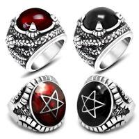 Edelstahl Ring Stein Gothic Schlange Kralle Pentagram rot schwarz Bikerschmuck