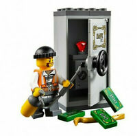 Lego ® City Minifig Figurine Voleur Cambrioleur + Coffre Fort et Billets NEW