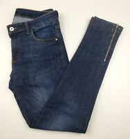 H&M Jeans Skinny Leg Zip Ankle Dark Wash Stretch Women's Size 29