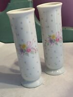 1993 FTD Hand Painted Ribbons & Flowers Porcelain Bud Vase Made In Japan - 2
