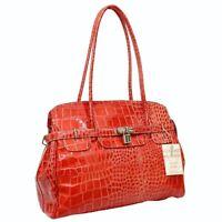 Ladies Women Croc Print Genuine Italian Leather Padlock Satchel Shoulder Handbag