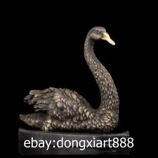 30 CM Western Art Deco Pure Bronze Marble Swan goose goosey goosie Art Sculpture