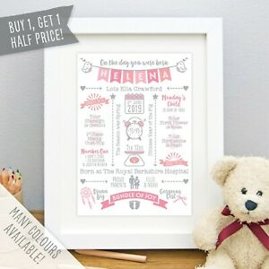 New Baby Gift Personalised The Day You Were Born Print Birth Details Nursery Art
