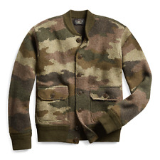 RRL Ralph Lauren Camouflage Wool Cardigan Vintage Inspired Fit NWT Large