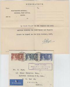 GOLD COAST 1937 1st REGULAR AIR MAIL SERVICE official FFC *ACCRA-IBADAN NIGERIA*