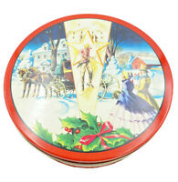 Vintage Collin Street Bakery Cookie Tin Horse Carriage Snowy Scene Mistletoe