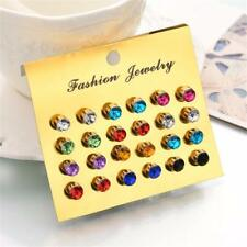 12 Pairs/set Colorful Crystal Earrings Lady Ear Stud Women Fashion Party Jewelry