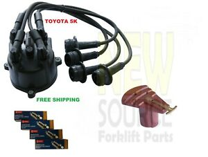 FITS TOYOTA FORKLIFT 5K TUNE UP KIT CAP+WIRES 19101-78120-71 DENSO SPARK PLUG