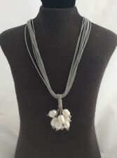 On Grey Multi Strand Cord Necklace Nwot White Freshwater Pearl Fringe Pendant