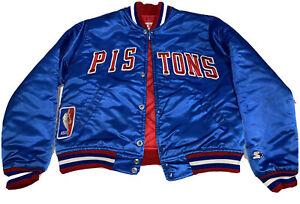 Detroit Pistons NBA Vintage 80s Starter Satin Jacket Youth Size Medium