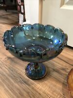 BLUE GARLAND Indiana Carnival Glass Iridescent Compote Pedestal Fruit Bowl Large