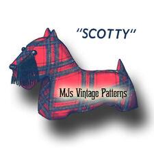 "Vintage Pattern ~ Scotty Scottie Dog Stuffed Animal Toy ~ 12"" long"