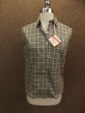 Retro Vtg 1950s New Deadstock Classy Plaid Sleeveless Shirt 10 No Iron Fortrel