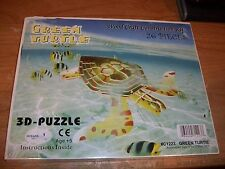 Oceans Creature Green Turtle 3D Puzzle Wood Craft Construction Kit #C1223 NEW