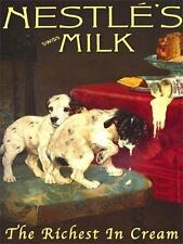 NESLE'S MILK DOGS VINTAGE ADVERT LARGE STEEL WALL PLAQUE QUALITY RETRO SIGN GIFT