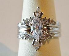 Avon Silvertone Marquise Ring Rings with Jacket Set Size 7 & fits size 6 1/2 New