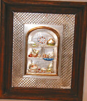 """Handcrafted Exotic Wall Plaque Metal Art Hi Relief Arch Nature 15"""" Wood Frame"""