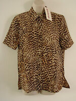 New Ladies Womens Kaleidoscope Shirt Button Up Top Classic Animal Size 8 - 22